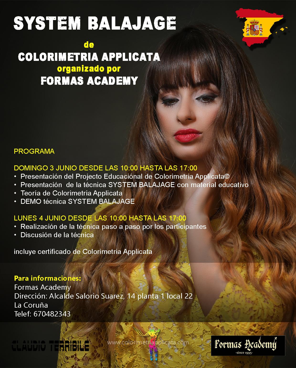 Claudio Terribile Haircolorist y el SYSTEM BALAYAJE en La Coruña el 3/4 de Junio